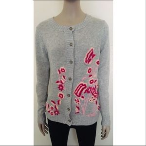 Floral Embroidered Knit Cardigan NWT!